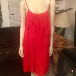 HAVE Red Pleated 2 Tiered Mini Dress Large